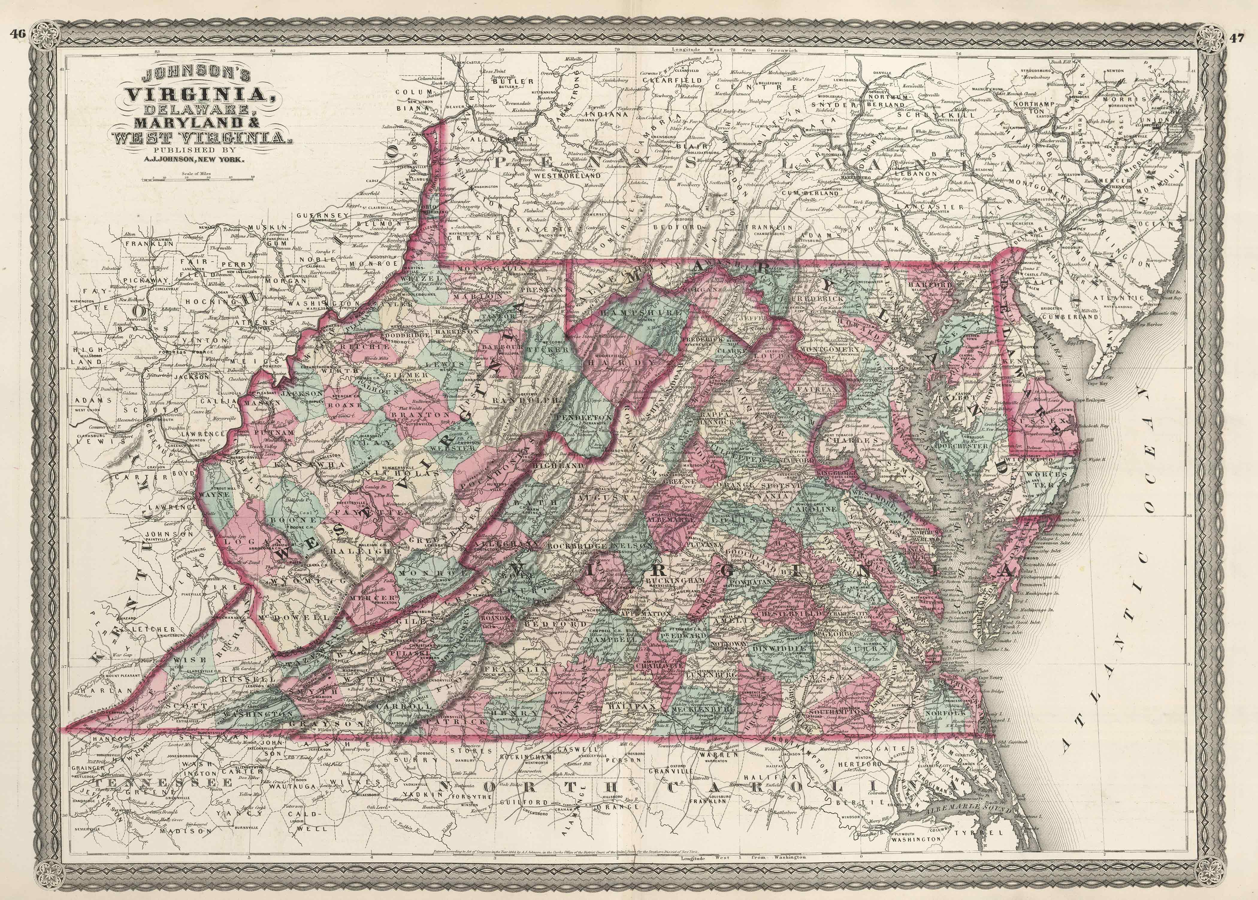 Old Historical City, County and State Maps of Virginia on maryland virginia map of pa, map of maryland counties and cities, maryland virginia county maps,