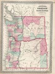 1870 State Map of Washington and Oregon