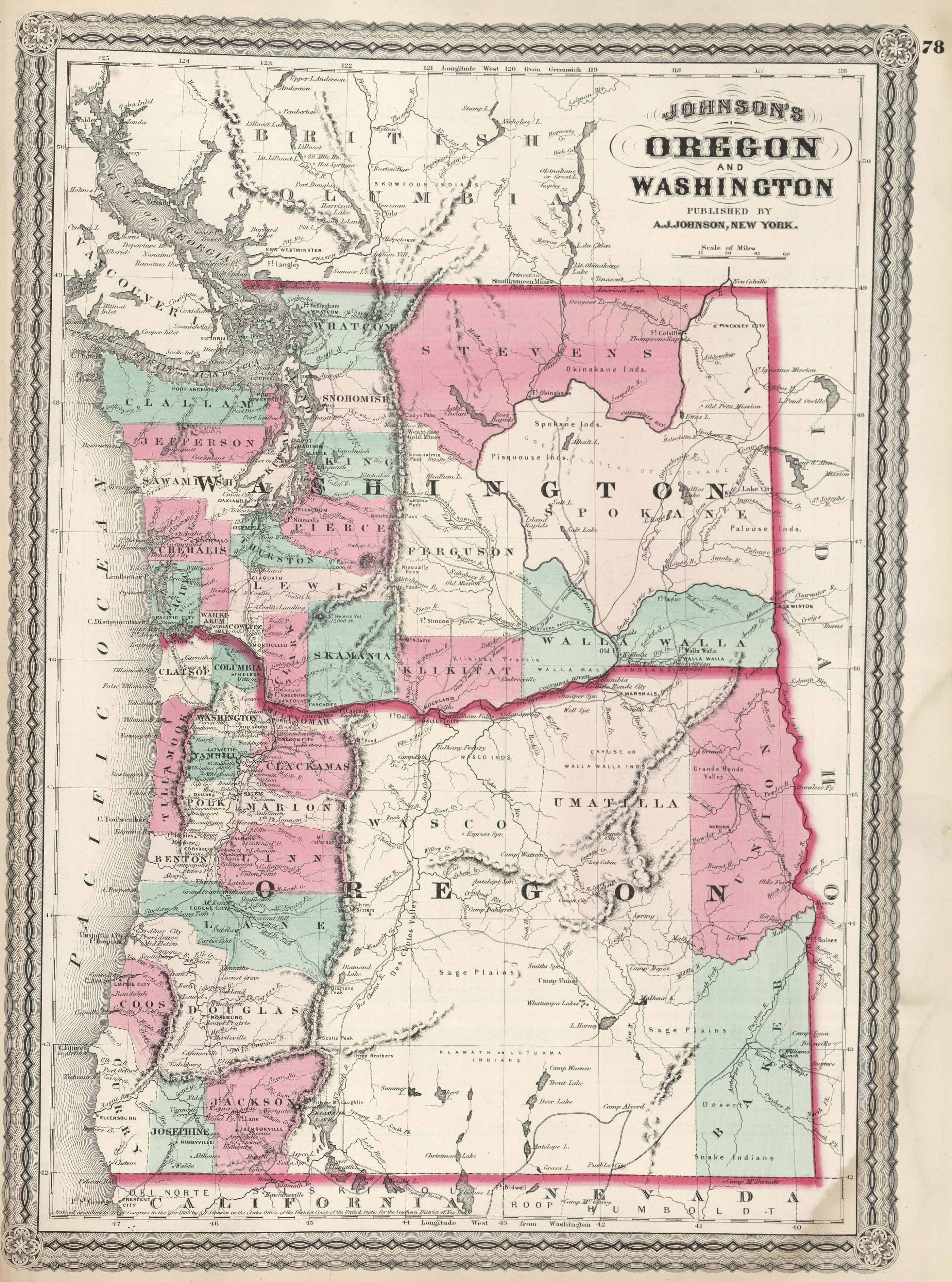 Old Historical City, County and State Maps of Washington