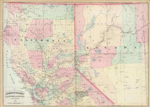 1874 Map of Northern California and Nevada