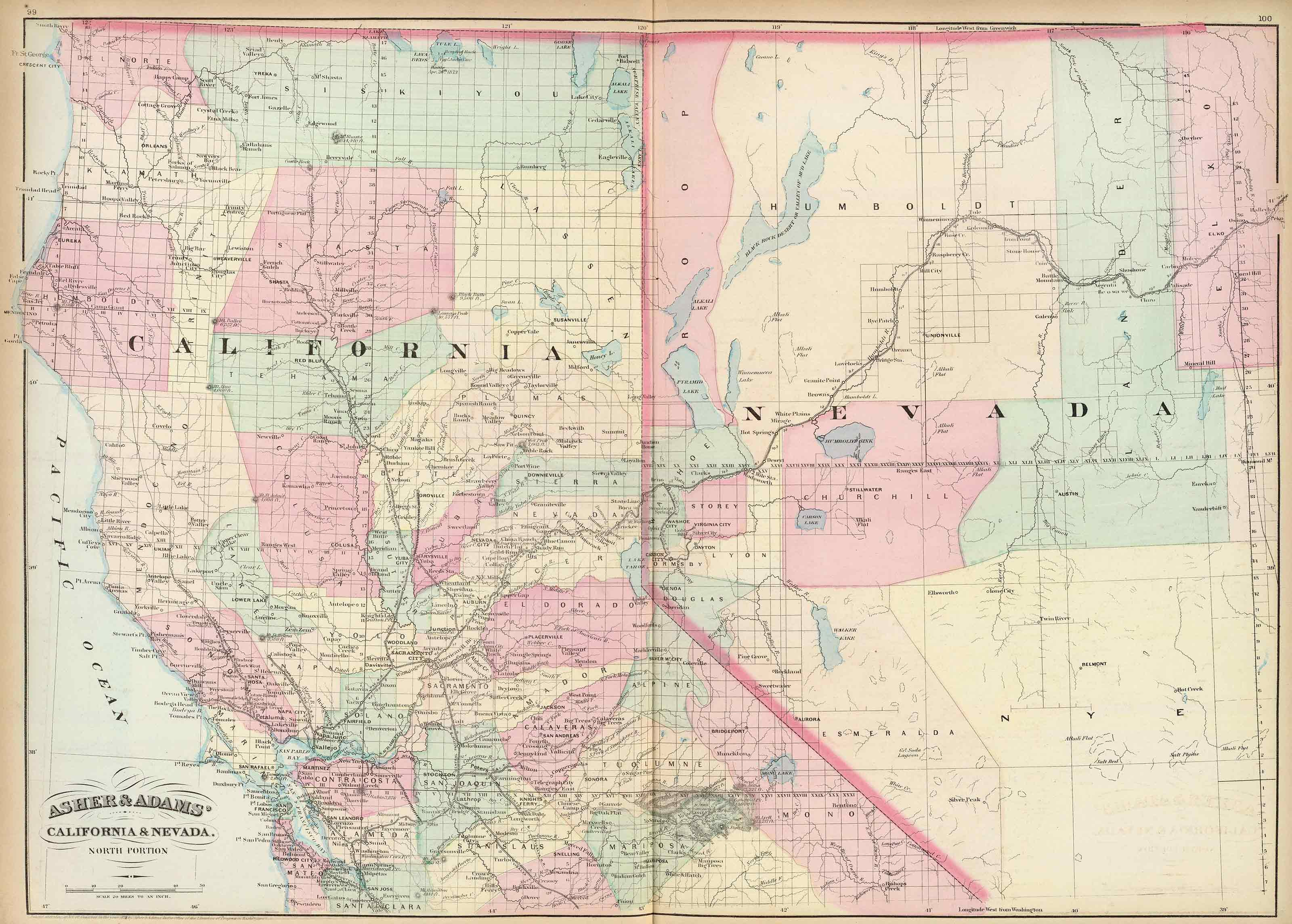 Old Historical City, County and State Maps of Nevada