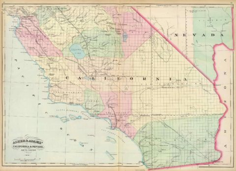1874 Map of Southern California and Nevada