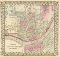 1880 City Map of Cincinnati