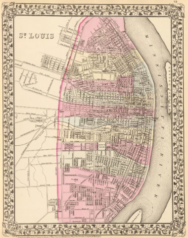 1880 City Map of St Louis
