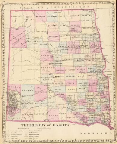 1880 County Map of Dakota Territory