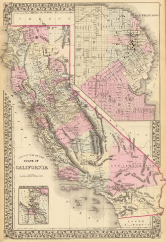 1880 State, County and Township Map of California with San Francisco, San Francisco Bay and vicinity