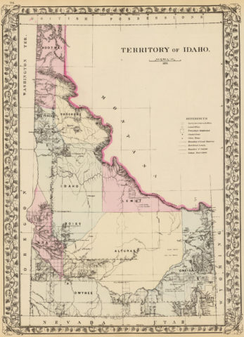 1880 State, County and Township Map of Idaho Territory