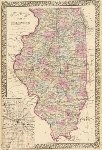 1880 State, County and Township Map of Illinois with Vicinity of Springfield