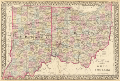 1880 State, County and Township Map of Indiana and Ohio
