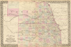 1880 State, County and Township Map of Nebraska and Kansas