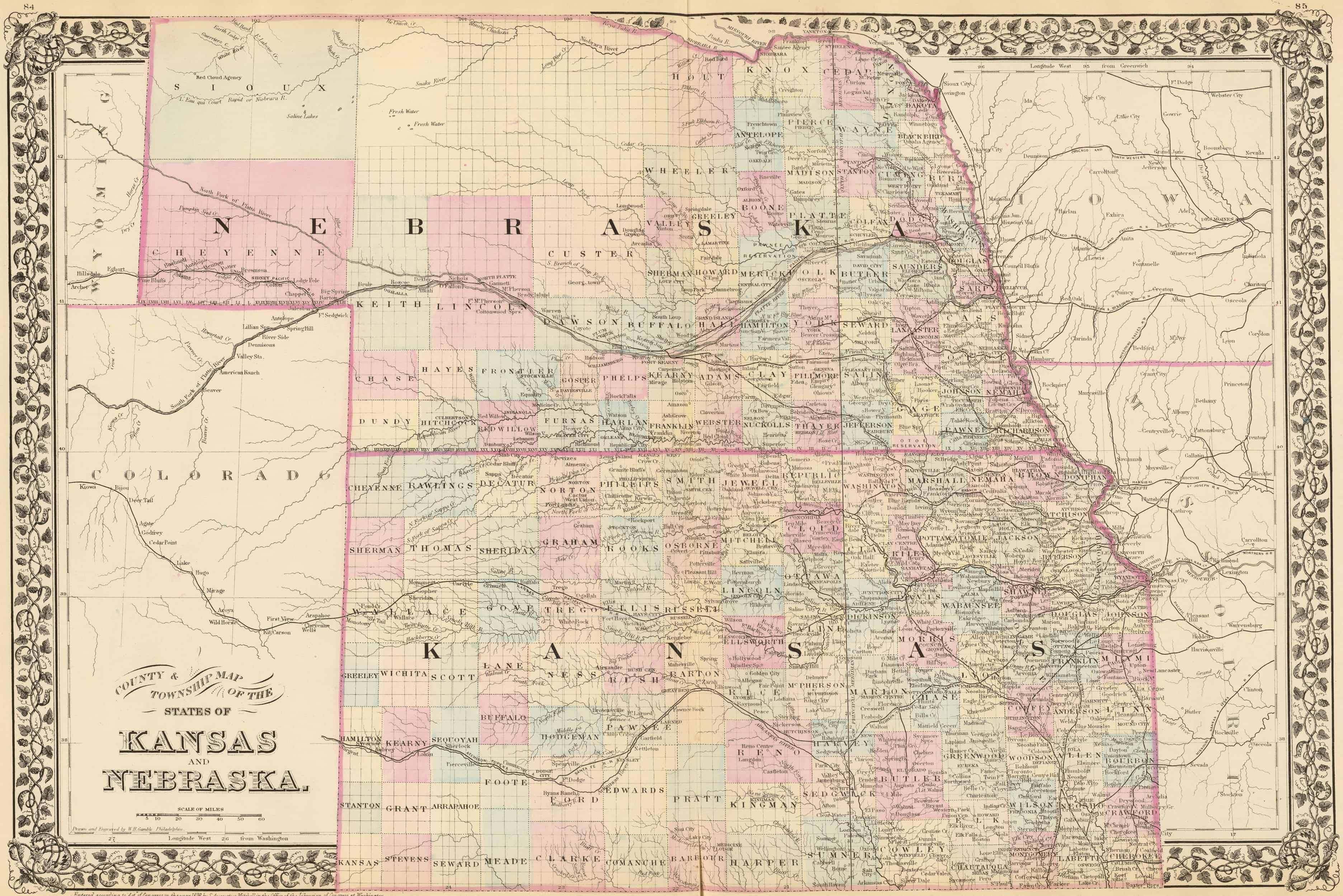 map of nebraska and kansas Old Historical City County And State Maps Of Nebraska map of nebraska and kansas
