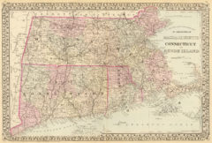 1880 State, County and Township Map of Massachusetts, Connecticut and Rhode Island