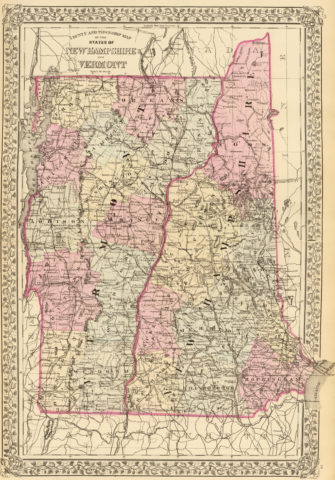 1880 State, County and Township Map of New Hampshire and Vermont
