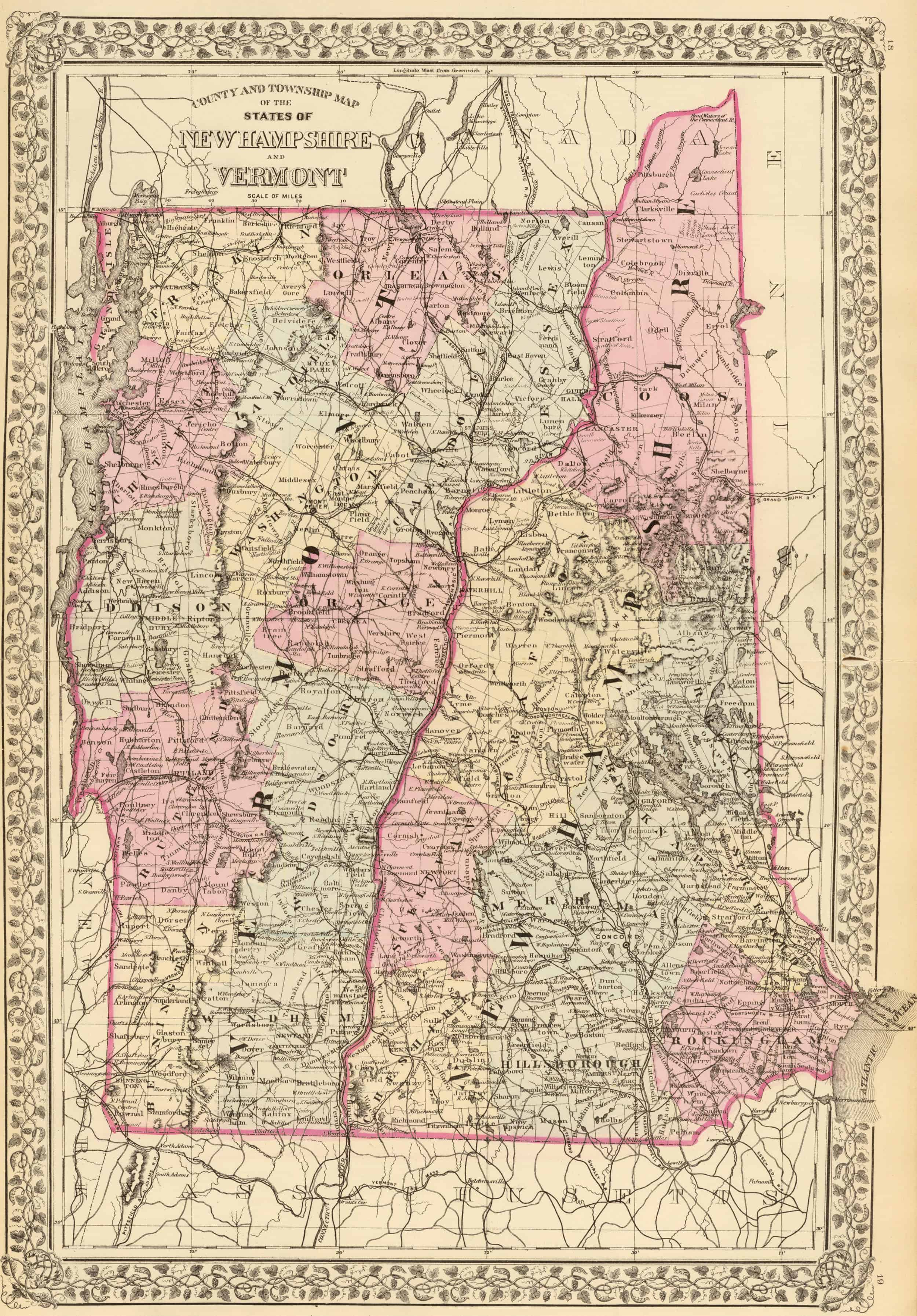 Old Historical City, County and State Maps of Vermont