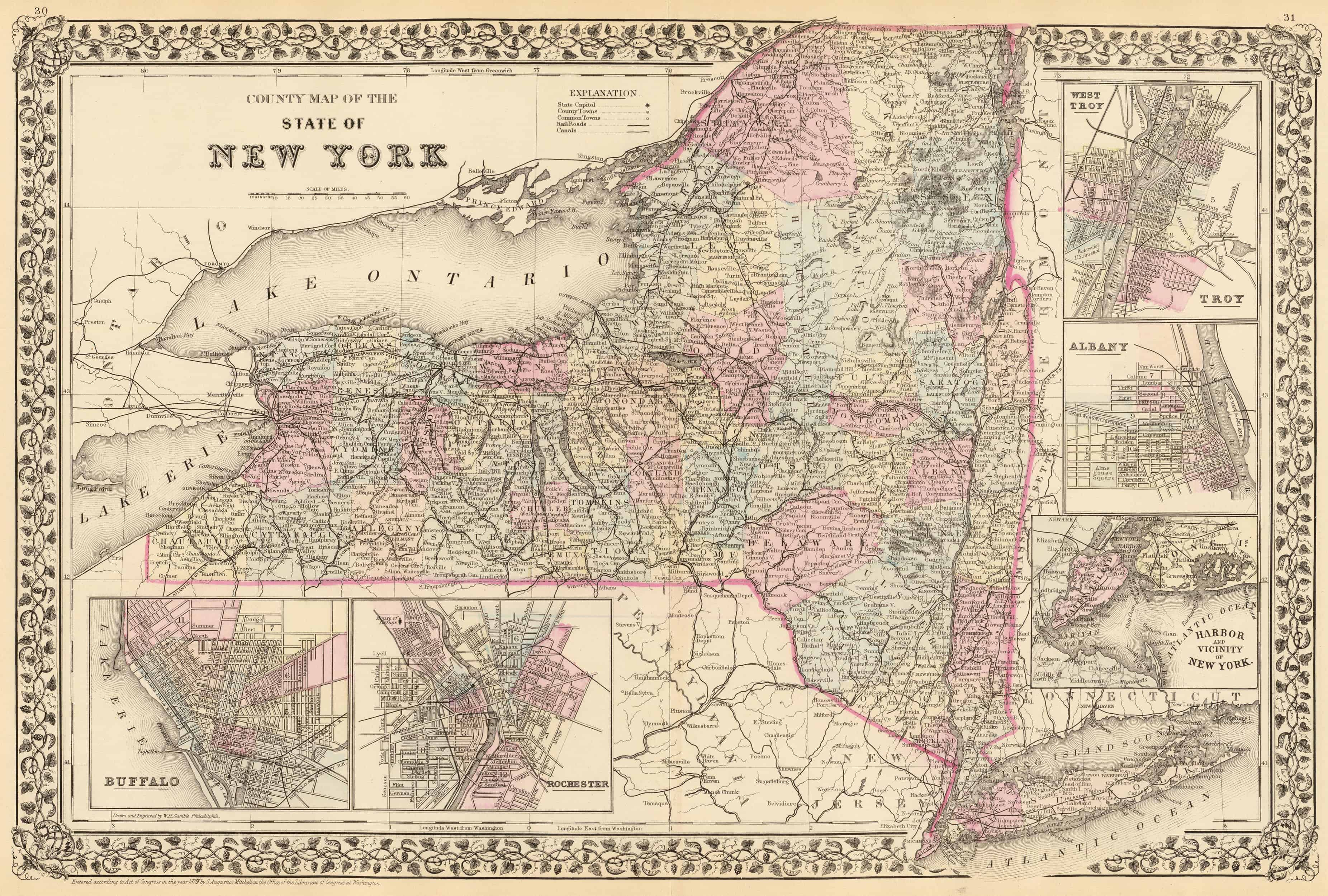 Old Historical City, County and State Maps of New York