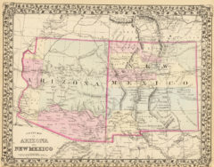 1880 State and County Map of Arizona and New Mexico