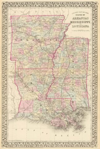 1880 State and County Map of Mississippi, Arkansas and Louisiana