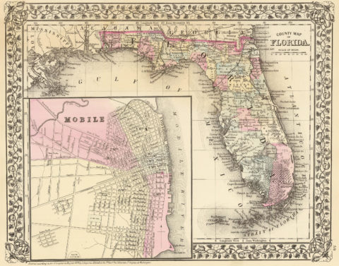 1880 State and County Map of Florida with City of Mobile