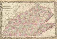 1880 State and County Map of Tennessee and Kentucky