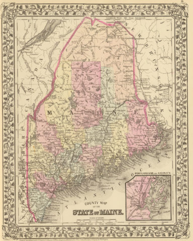 1880 State and County Map of Maine with Portland Harbor and vicinity