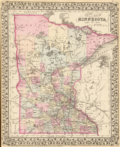 1880 State and County Map of Minnesota