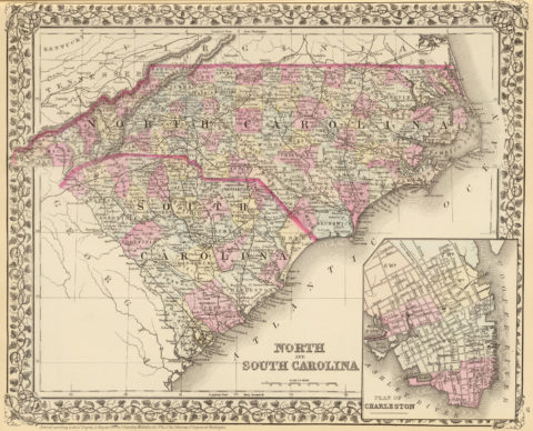 1880 State and County Map of North and South Carolina with Plan of Charleston