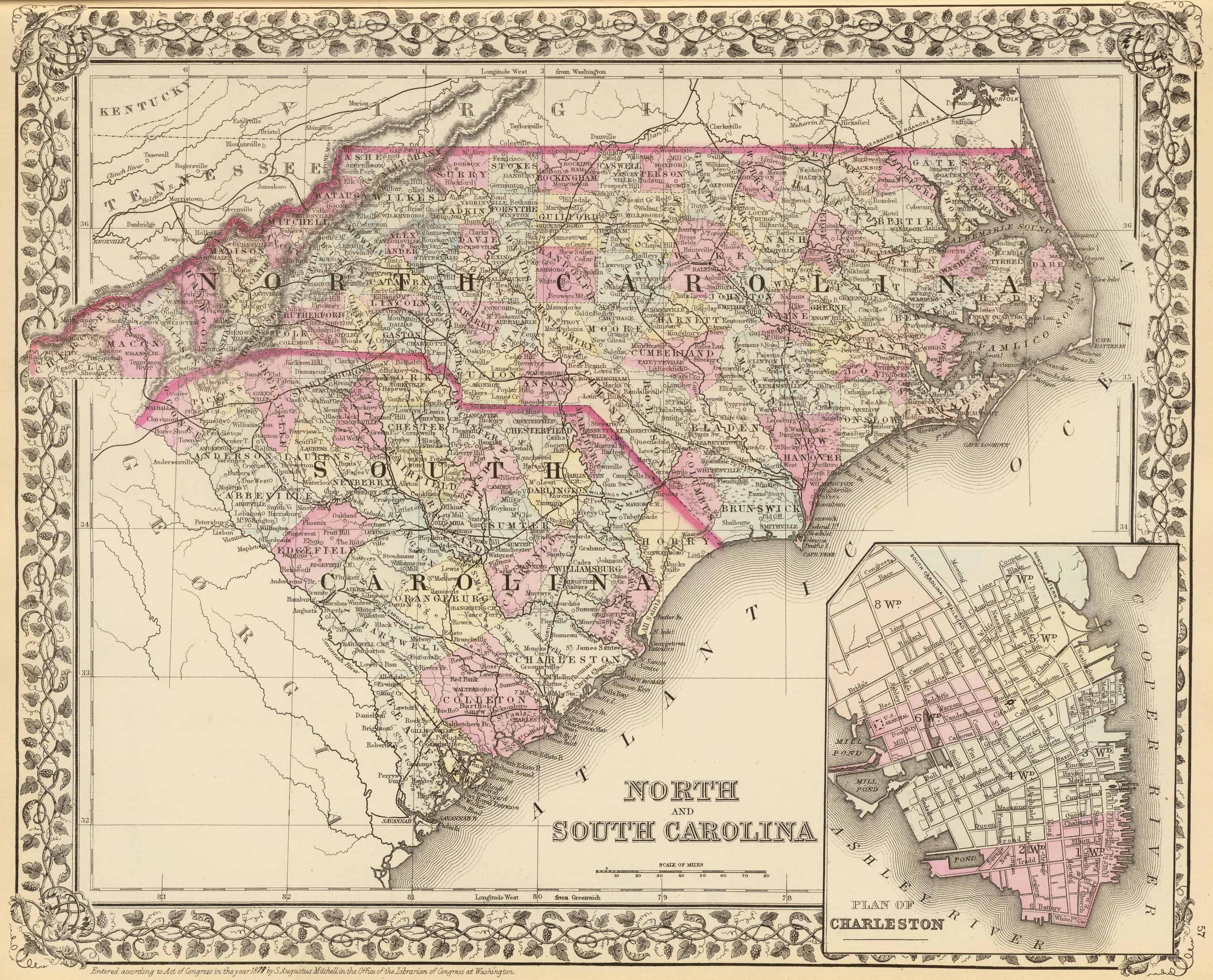 Old Historical City, County and State Maps of South Carolina