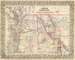 1880 State and County Map of Washington, Oregon, Idaho, and part of Montana
