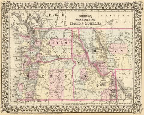 1880 State and County Map of Oregon, Washington, Idaho, and part of Montana