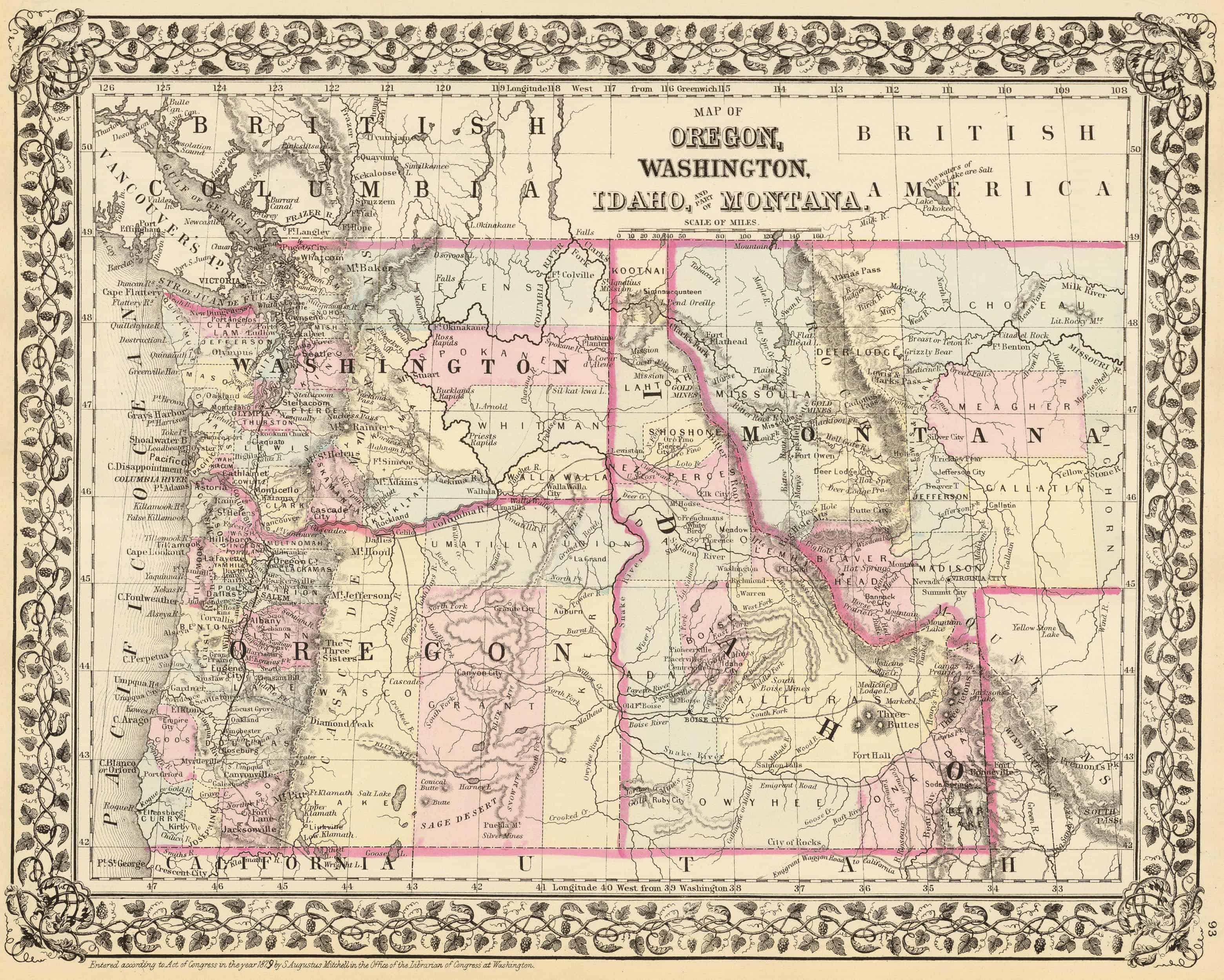 Old Historical City, County and State Maps of Montana