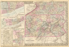 1880 State and County Map of Pennsylvania with Harrisburg, Williamsport, Erie and Scranton