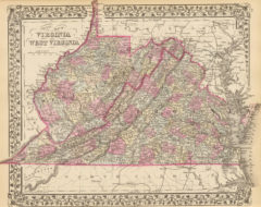 1880 State and County Map of Virginia and West Virginia