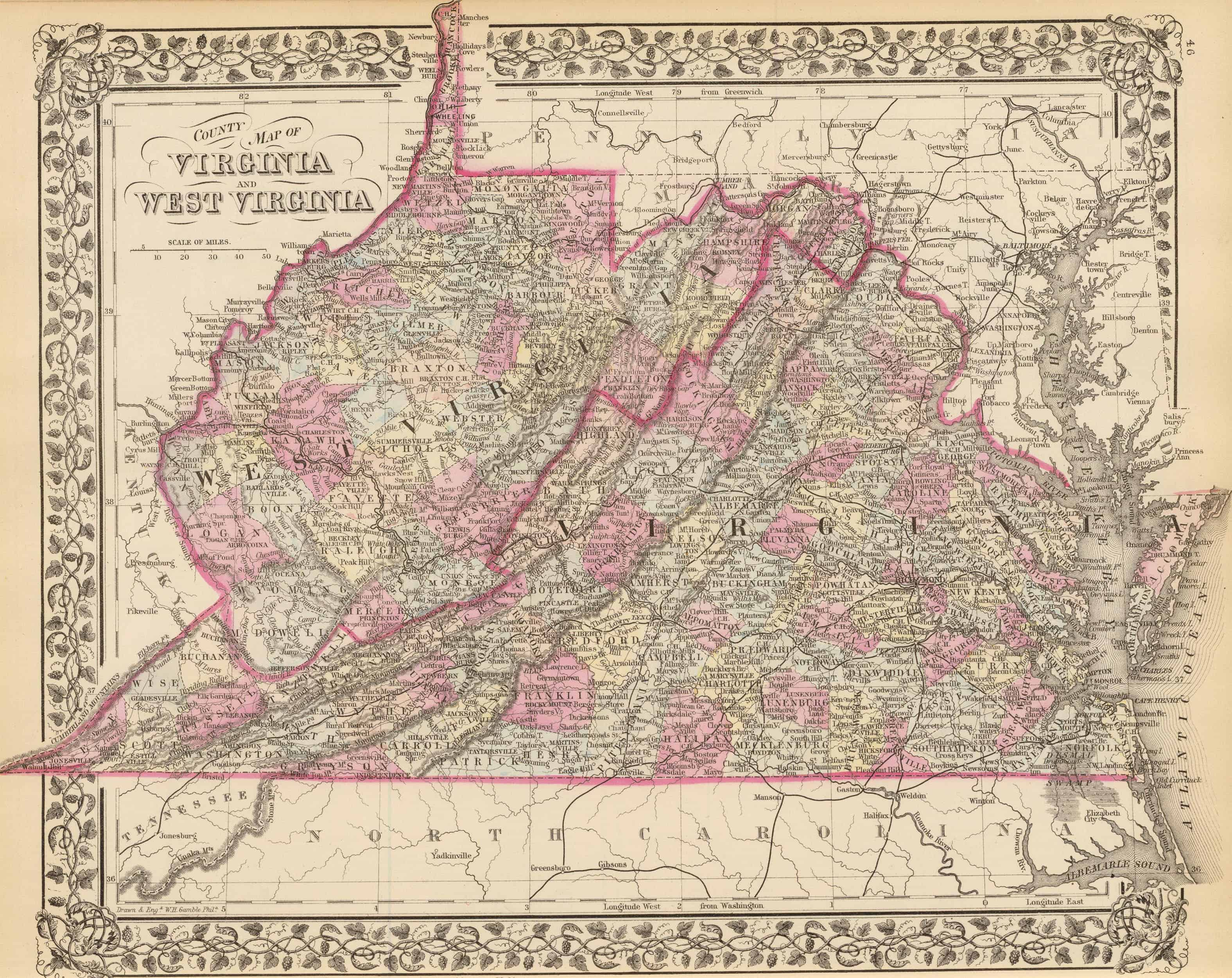 Old Historical City County And State Maps Of Virginia