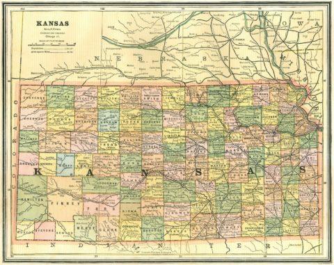 1886 Map of Kansas