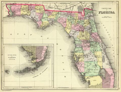 1890 Map of Florida