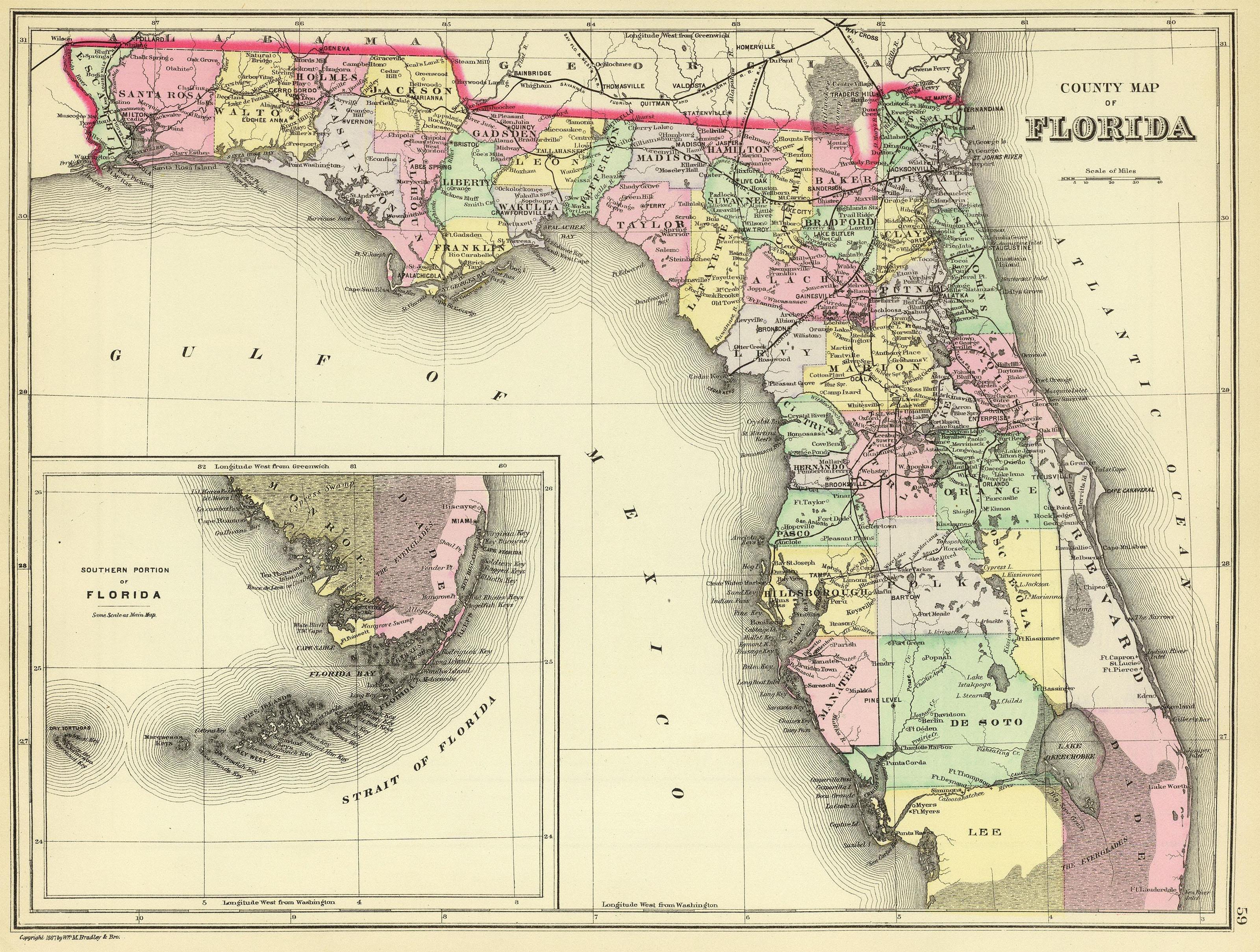 1870 FL MAP GILCHRIST GLADES GULF HAMILTON HARDEE HENDRY COUNTY history HUGE