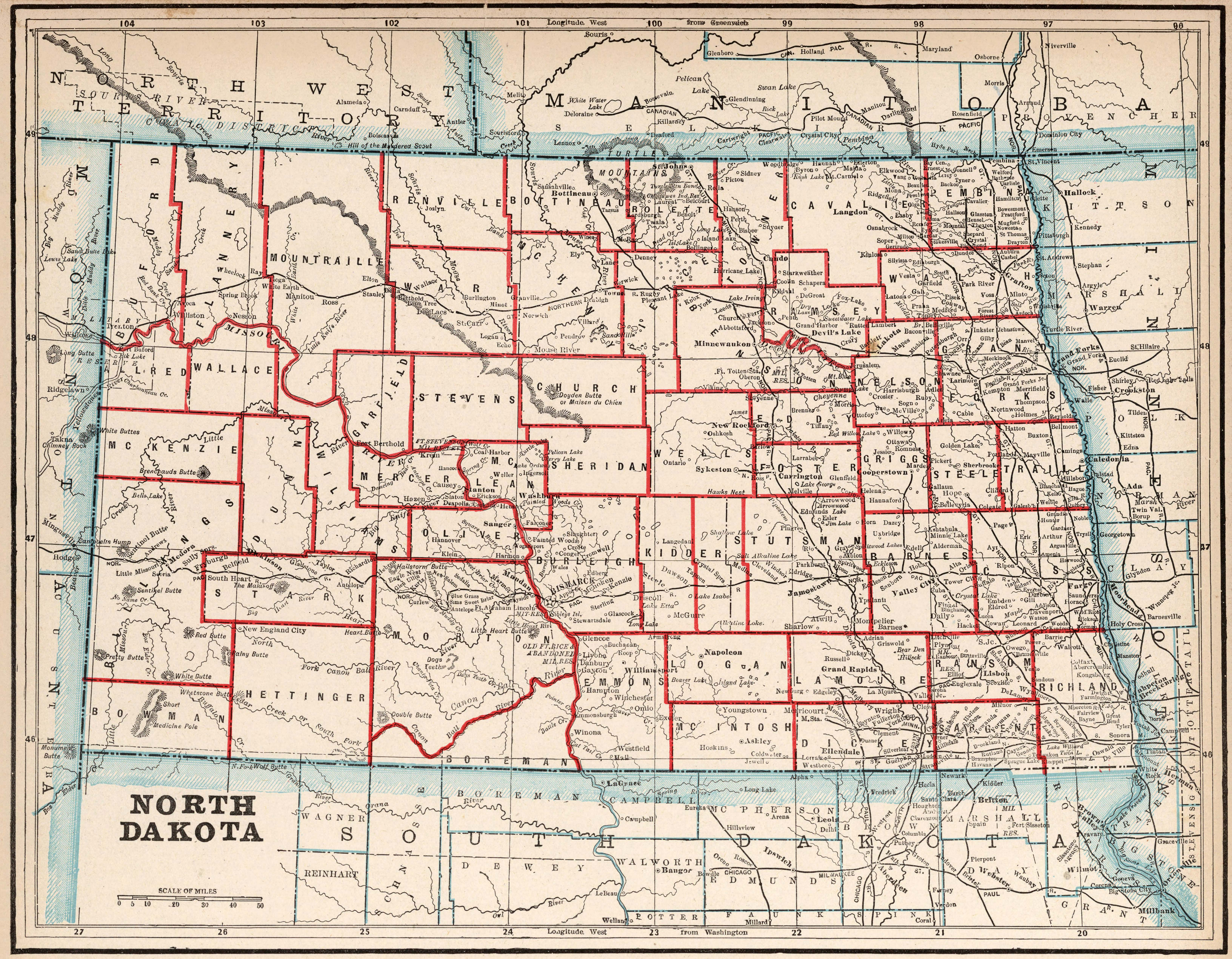 Old Historical City, County and State Maps of North Dakota
