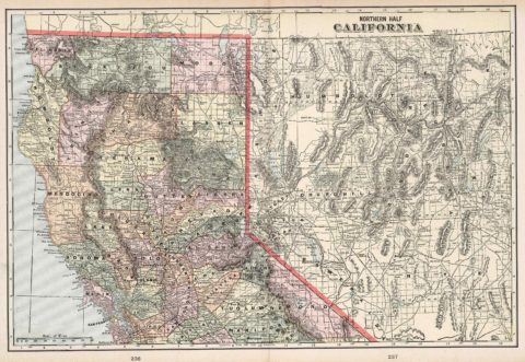 1901 Map of Northern California from Cram's atlas of the world, ancient and modern