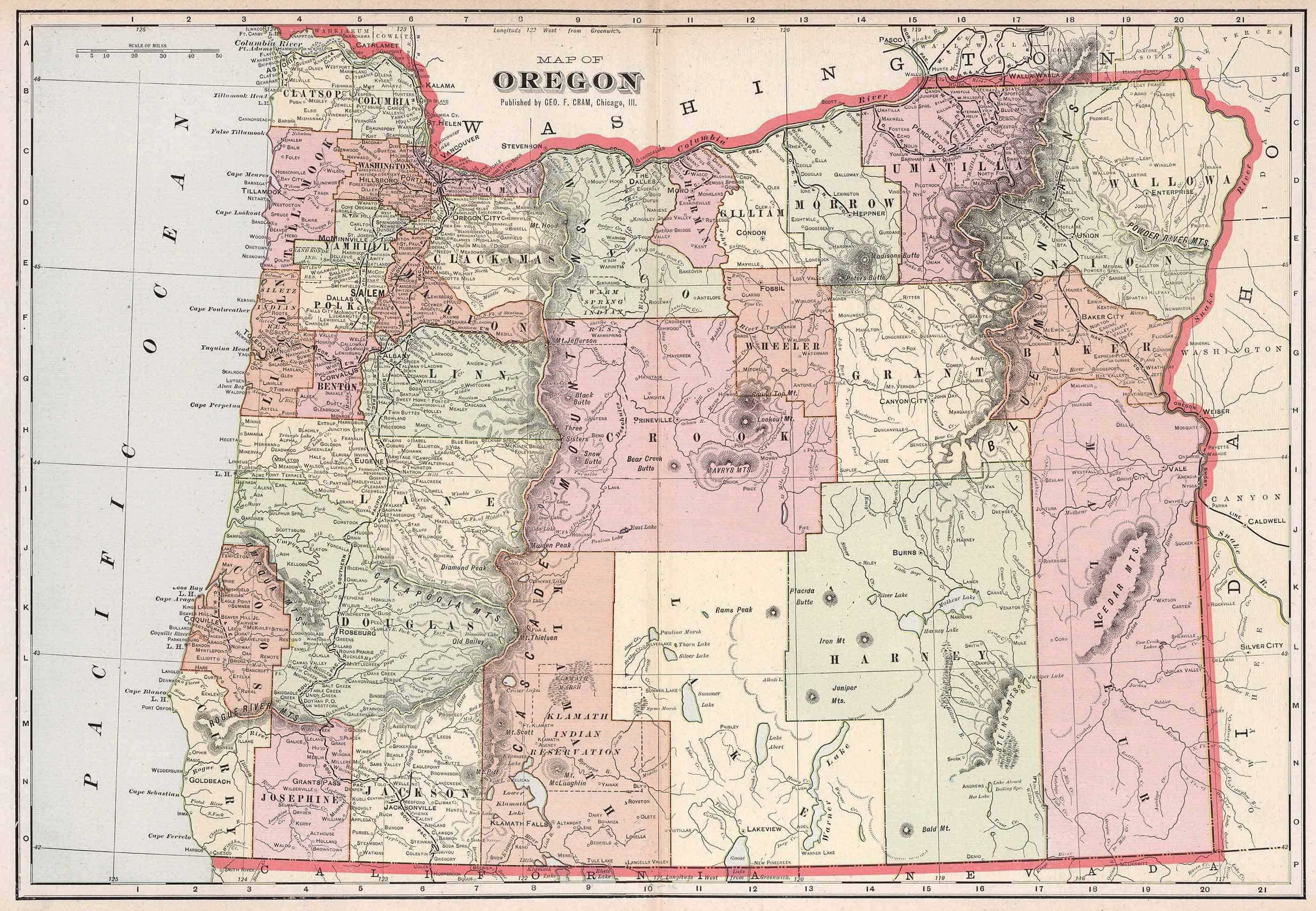 Old Historical City, County and State Maps of Oregon on global map, geographic feature, cartography of the united states, geographic information system, satellite imagery, map projection, history of cartography, early world maps, geographic coordinate system, grid reference,