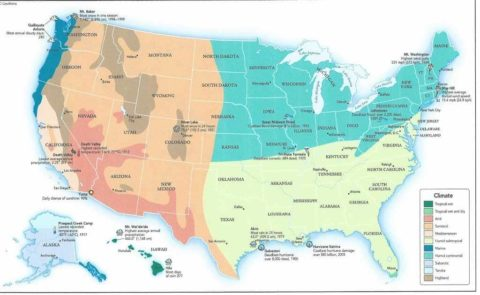 Example of a Climate Map of US