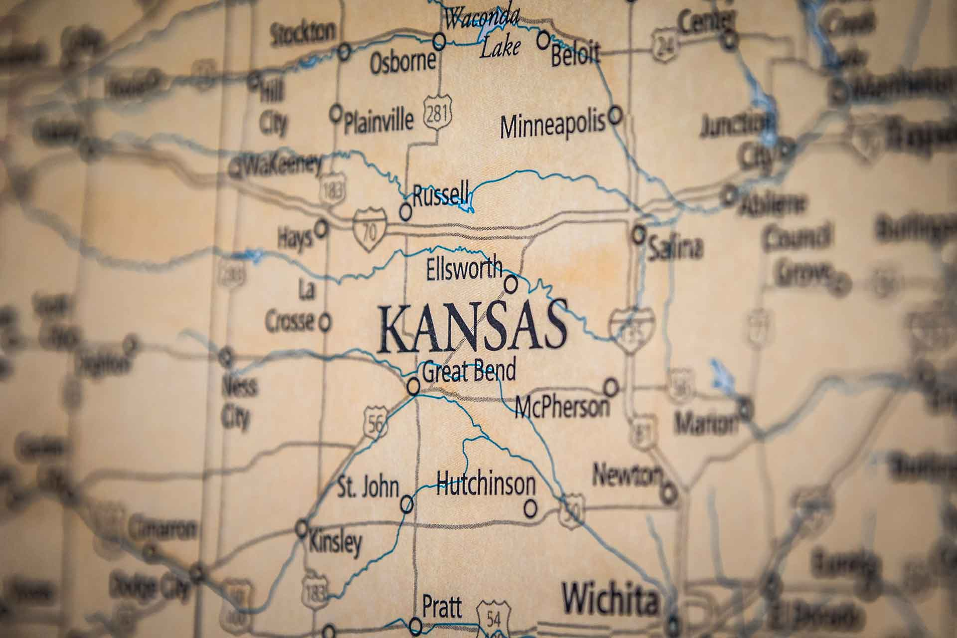 Old Historical City, County and State Maps of Kansas