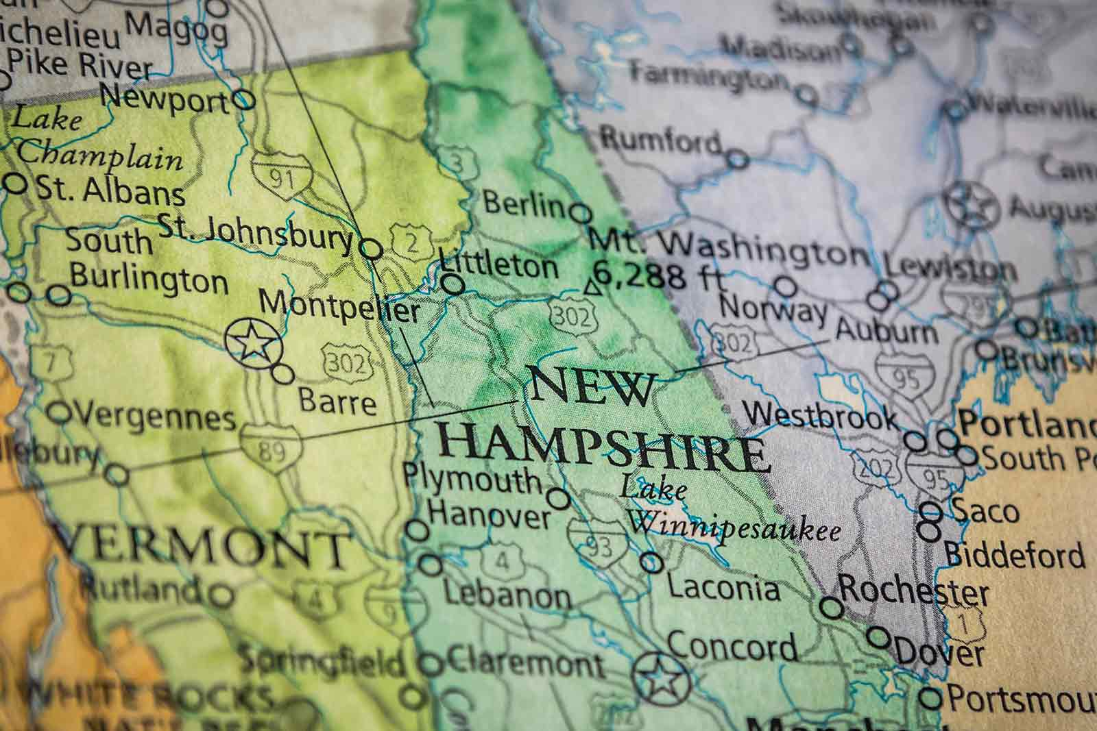 Old Historical City, County and State Maps of New Hampshire