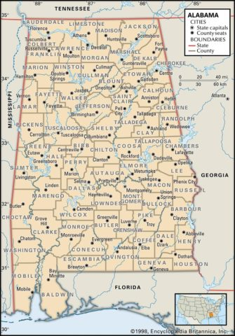 State Map of Alabama with the counties and the county seats