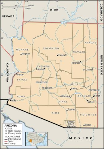 State Map of Arizona with the counties and the county seats