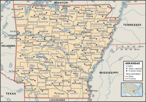 State Map of Arkansas with the counties and the county seats