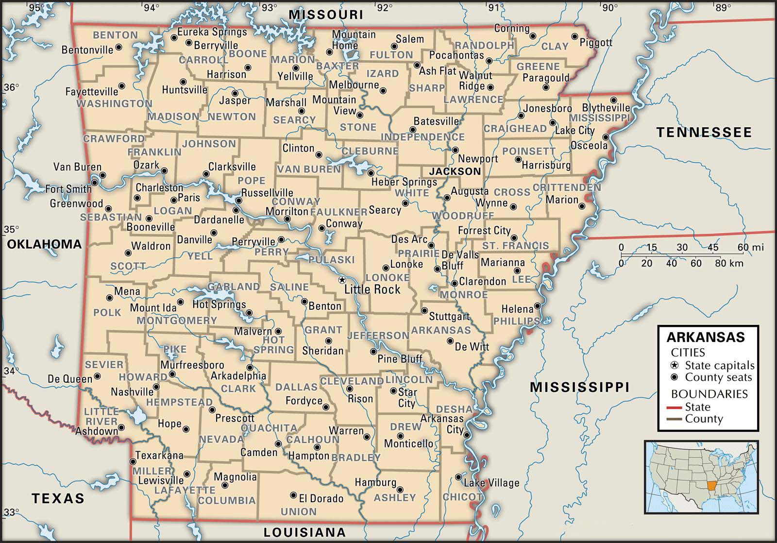 Old Historical City County And State Maps Of Arkansas