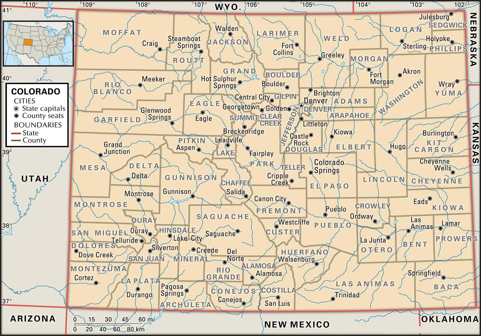 Old Historical City, County and State Maps of Colorado
