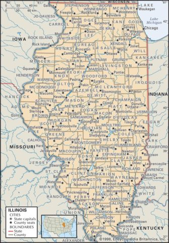 State Map of Illinois with the counties and the county seats