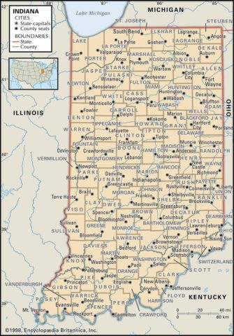 State Map of Indiana with the counties and the county seats