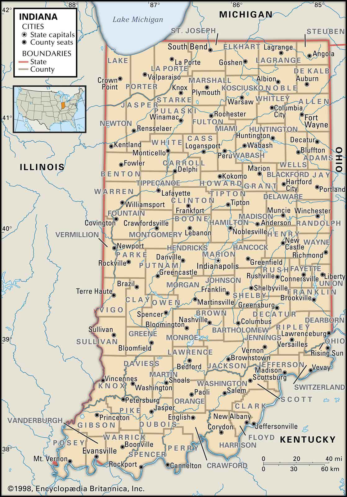 Picture of: Old Historical City County And State Maps Of Indiana